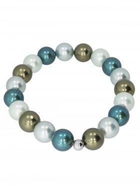 Muschelkernperle ø 10 mm Modell E (mint, olive, blassgrün, petrol), Armband auf Elastikband mit Geschenkbeutel, 1 St.