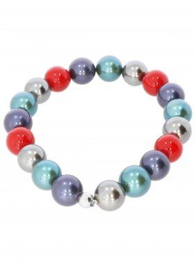 Muschelkernperle ø 10 mm Modell H (rot, dunkelblau, petrol, silber 4), Armband auf Elastikband mit Geschenkbeutel, 1 St.