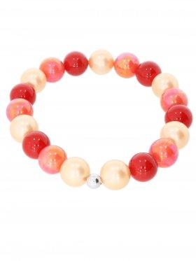 Muschelkernperle ø 10 mm Modell I (orange, rot, koralle), Armband auf Elastikband mit Geschenkbeutel, 1 St.