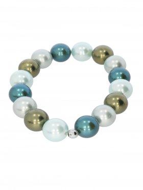 Muschelkernperle ø 12 mm Modell E (mint, olive, blassgrün, petrol), Armband auf Elastikband mit Geschenkbeutel, 1 St.