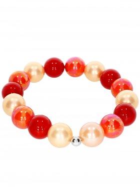 Muschelkernperle ø 12 mm Modell I (orange, rot, koralle), Armband auf Elastikband mit Geschenkbeutel, 1 St.