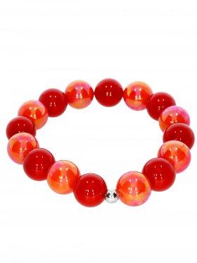Muschelkernperle ø 12 mm Modell J (rot, koralle), Armband auf Elastikband mit Geschenkbeutel, 1 St.