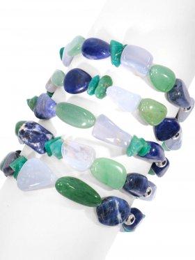 Amazonit, Aventurin, Chalcedon und Sodalit,  Armband auf Elastikband