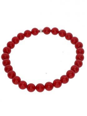 Muschelkernperle rot, Armband Kugel ø 6 mm, Länge ca. 17 cm, 1 St.