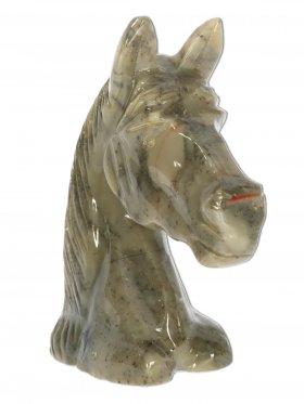 Speckstein, Deko-Pferdekopf, in Grau- oder Rottönen