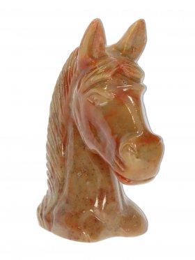 Speckstein, Deko-Pferdekopf, Rottöne