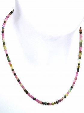 Turmalin multicolor Halskette Kugel ø 4 mm, Karabinerverschluss, Länge 42 cm