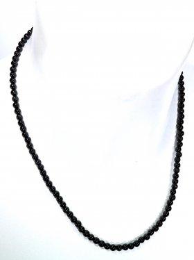 Turmalin schwarz ø 4 mm, Halskette, L 42 cm, 1 Stück