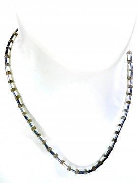 Halskette aus dem Schmuckstein Labradorit kombiniert mit Silberröhrchen aus 925 Silber rhodiniert