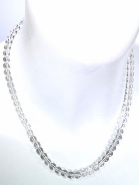 Bergkristall Halskette Kugel ø 6 mm, Karabinerverschluss, Länge 42 cm