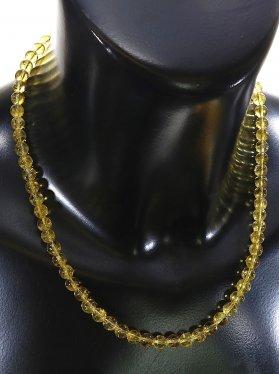 Citrin Halskette Kugel ø 6 mm, Karabinerverschluss, 925 Silber, Länge 42 cm