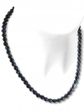 Falkenauge Halskette Kugel ø 6 mm, Karabinerverschluss, 925 Silber, Länge 42 cm