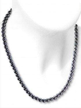 Hämatit Halskette Kugel ø 6 mm, Karabinerverschluss, 925 Silber, Länge 42 cm