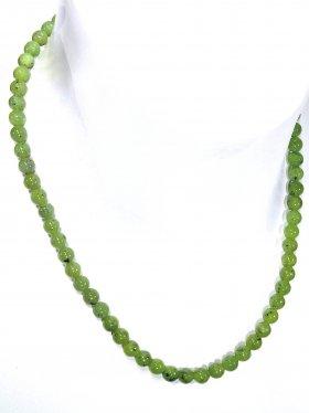 Jade Nephrit Halskette Kugel ø 6 mm, Karabinerverschluss, 925 Silber, Länge 42 cm