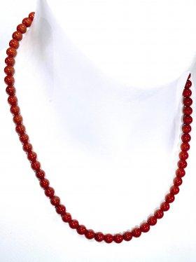 Jaspis (rot) Halskette Kugel ø 6 mm, Karabinerverschluss, 925 Silber, Länge 42 cm
