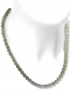 Labradorit Halskette Kugel ø 6 mm, Karabinerverschluss, 925 Silber, Länge 42 cm