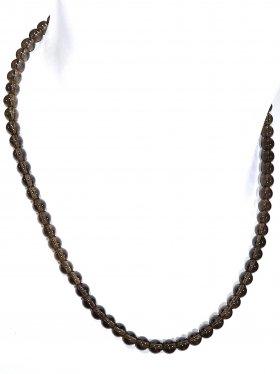 Rauchquarz bunt Halskette Kugel ø 6 mm, Karabinerverschluss, 925 Silber, Länge 42 cm