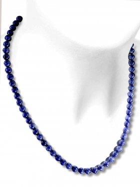 Saphir Halskette Kugel ø 6 mm, Karabinerverschluss, 925 Silber, Länge 42 cm