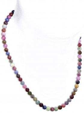 Saphir Rubin Halskette Kugel ø 6 mm, Karabinerverschluss, 925 Silber, Länge 42 cm