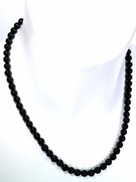Turmalin schwarz Halskette Kugel ø 6 mm, Karabinerverschluss, 925 Silber, Länge 42 cm