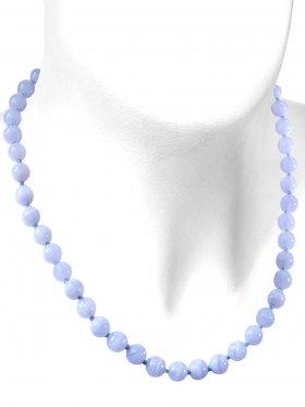 Chalcedon Halskette Kugel ø 8 mm, Karabinerverschluss, Länge 46 cm