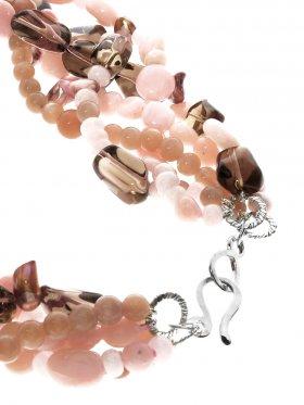 Andenopal pink, Perle, Mondstein, Rauchquarz, Kette mehrreihig mit S-Haken Verschluss in 925 Silber, Länge ca. 45 cm, 1 St.