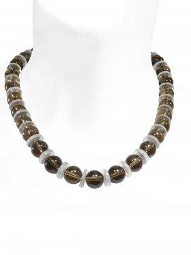 Steinkette aus den Schmuckstein Rauchquarz, Bergkristall, Verschluss 925 Silber rhodiniert