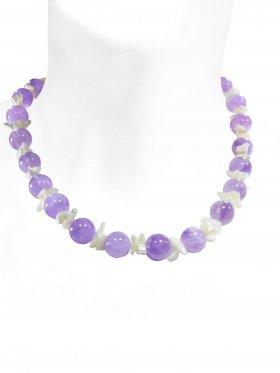 Steinkette aus den Schmuckstein Lavendel Amethyst, Perlmutt, Verschluss 925 Silber rhodiniert