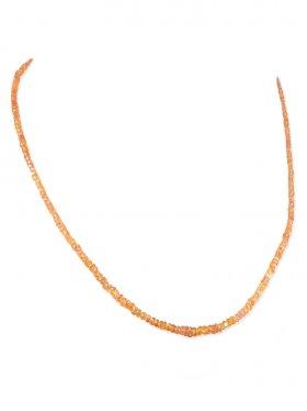 Padparadscha-Saphir in Linsenform ca. 3 mm, Halskette mit Karabinerverschluss aus 925 Silber, Länge ca. 43 cm, 1 St.