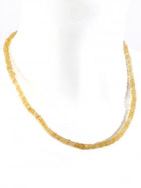 Goldberyll facettiert in Linsenform ca. 4 mm, Halskette mit Karabinerverschluss aus 925 Silber, Länge ca. 45 cm