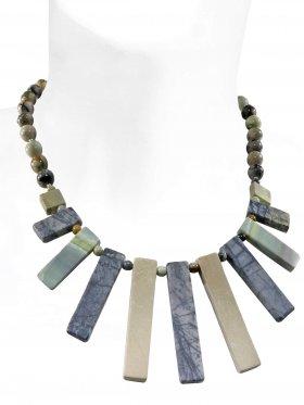 Steinkette aus den Schmucksteinen Picasso-Marmor, Verschluss 925 Silber rhodiniert