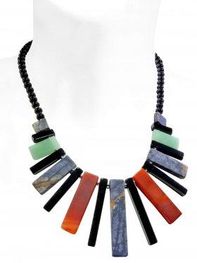 Steinkette aus den Schmucksteinen Aventurin, Karneol, Onyx und Picasso-Marmor, Verschluss 925 Silber rhodiniert