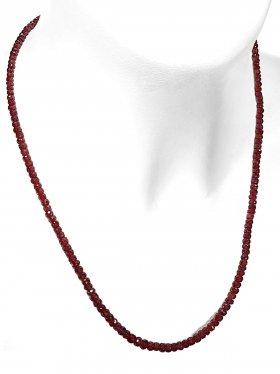 Steinkette aus dem Schmuckstein Rubin, L 45 cm mit Verlängerungskettchen aus rhodiniertem 925 Silber, 1 Stück