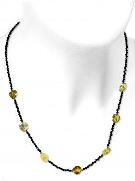 Steinkette aus den Schmucksteinen Spinell und Citrin, Verschluss 925 Silber rhodiniert