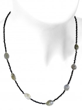 Steinkette aus den Schmucksteinen Spinell und Labradorit, Verschluss 925 Silber rhodiniert
