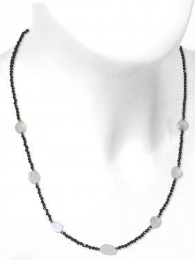Steinkette aus den Schmucksteinen Spinell und Mondstein, Verschluss 925 Silber rhodiniert