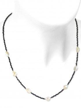 Steinkette aus den Schmucksteinen Spinell und Süßwasserperle, Verschluss 925 Silber rhodiniert