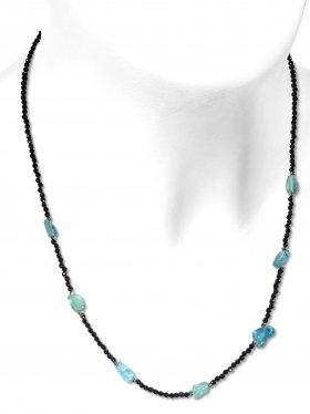 Steinkette aus den Schmucksteinen Spinell und blauem Topas, Verschluss 925 Silber rhodiniert