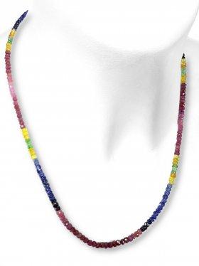 Steinkette aus den Schmucksteinen Rubin und Saphir, L 45 cm mit Verlängerungskettchen aus rhodiniertem 925 Silber, 1 Stück