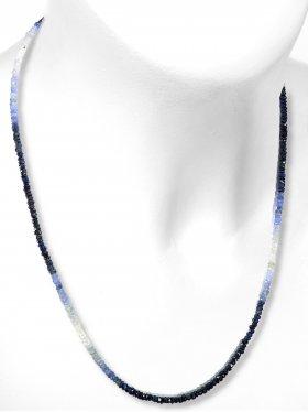 Steinkette aus blauem Saphir Schmucksteinen mit Farbverlauf, L 45 cm mit Verlängerungskettchen aus rhodiniertem 925 Silber, 1 Stück