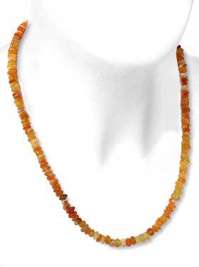 Feueropal Halskette, Karabinerverschluss, 925 Silber vergoldet, Länge 43 cm, Unikat