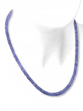 Tansanit Halskette mit Verlauf, Karabinerverschluss aus 925 Silber, Länge 40 cm, Unikat