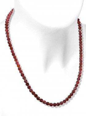 Granat Halskette, facettierte Kugeln, Karabinerverschluss aus 925 Silber, Länge 46 cm, Unikat