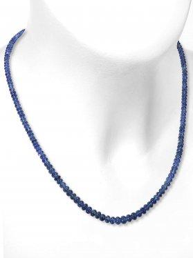 Saphir Halskette mit Verlauf, polierte Linsen mit Verlauf ø 3,3 - 5,1 mm, Karabinerverschluss aus 925 Silber vergoldet, Länge 42 cm, Unikat