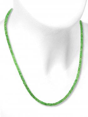 Tsavorit Halskette, facettierte Linsen 40 ct. ø 2,9 mm, Karabinerverschluss aus 925 Silber, Länge 42 cm, Unikat