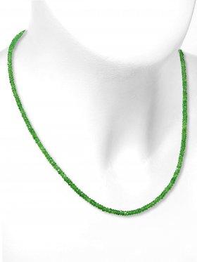 Tsavorit Halskette, facettierte Linsen 33 ct. ø 2,5 mm, Karabinerverschluss aus 925 Silber, Länge 43 cm, Unikat
