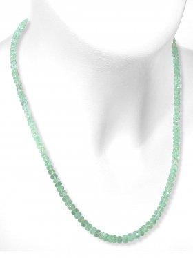 Smaragd Halskette mit Verlauf, facettierte Linsen ø 4,2 - 5,1 mm, Karabinerverschluss aus 925 Silber, Länge 46 cm, Unikat