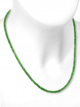 Tsavorit Halskette, facettierte Linsen 34 ct. ø 2,6 mm, Karabinerverschluss aus 925 Silber, Länge 42 cm, Unikat