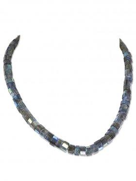 Labradorit facettiert in Discform ca. 8 mm, Halskette mit Magnetverschluss aus 925 Silber, Länge ca. 43 cm