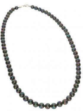 Muschelkernperle black rainbow, Kette Kugel ø 6 mm, Länge ca. 43 cm, 1 St.